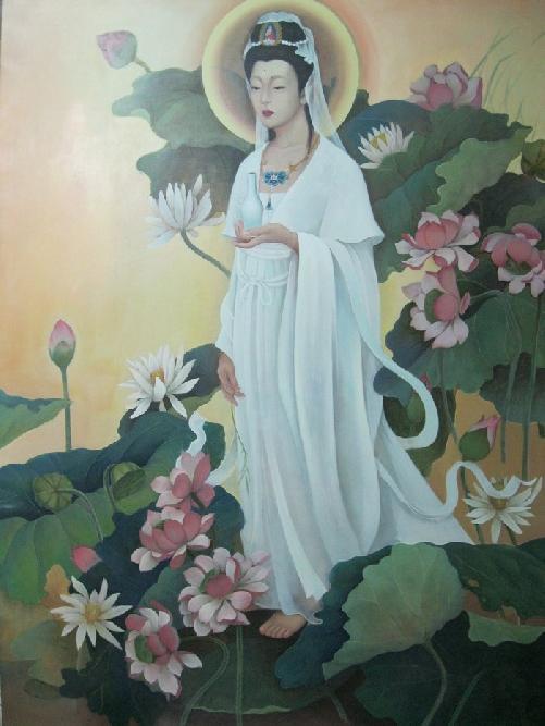 清代檀香木雕菩萨像