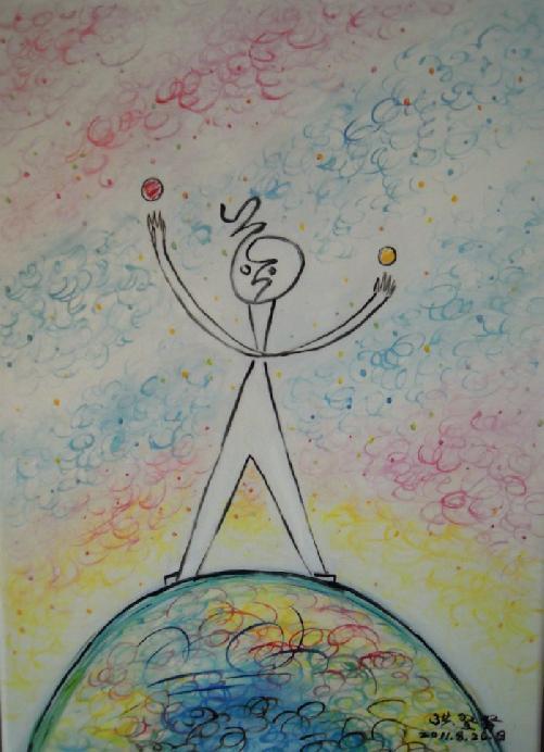 地球梦我的梦儿童画